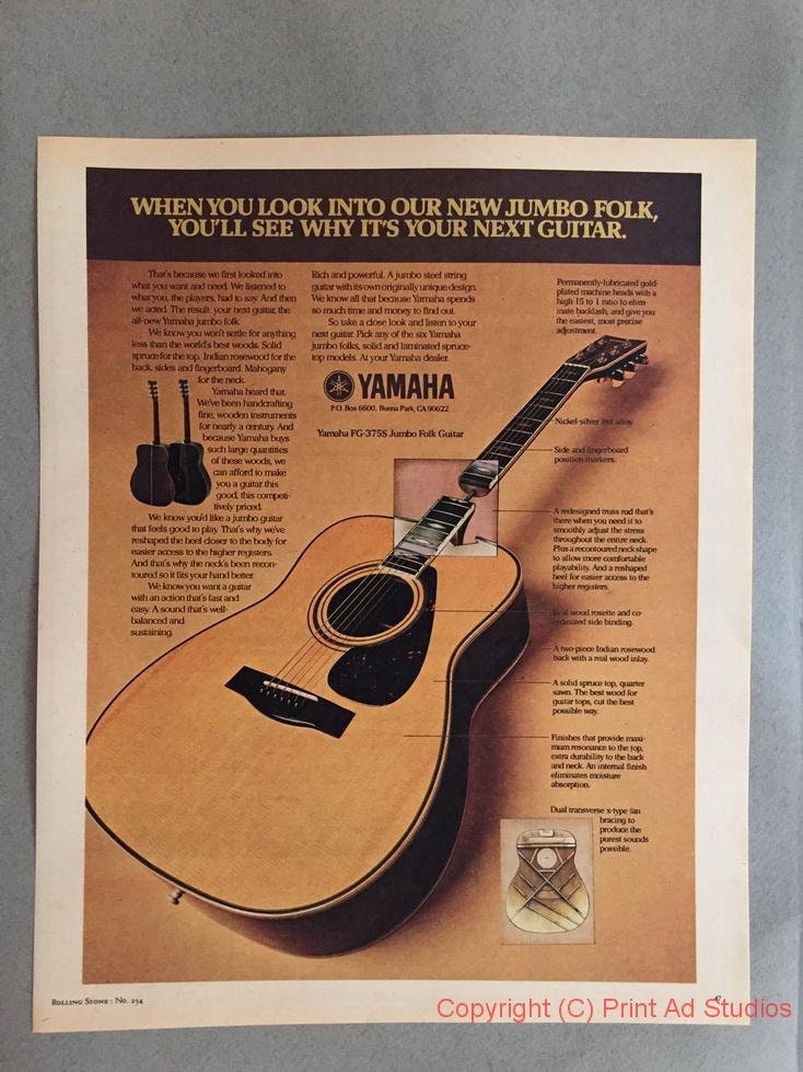 1977 Yamaha FG-375S Jumbo Folk Guitar Print Ad - Acoustic Guitar - Vintage  Guitar Ad