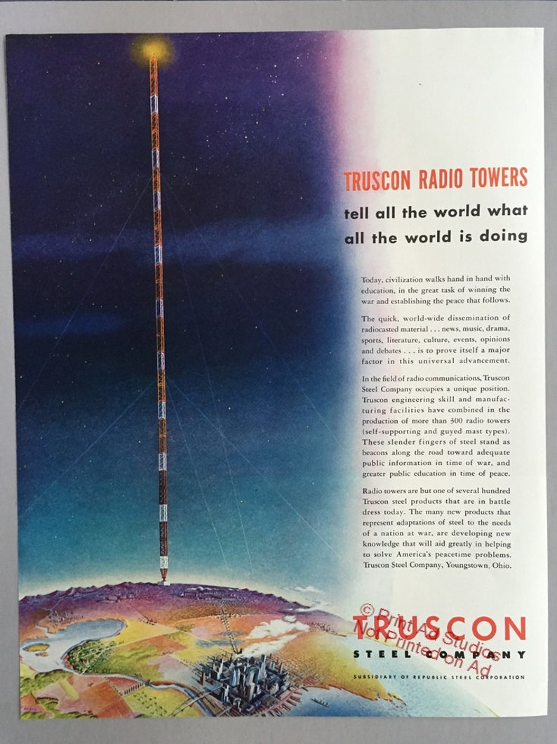 077d3ceb7d6469 1942 Republic Steel Print Ad for Truscon Radio Towers