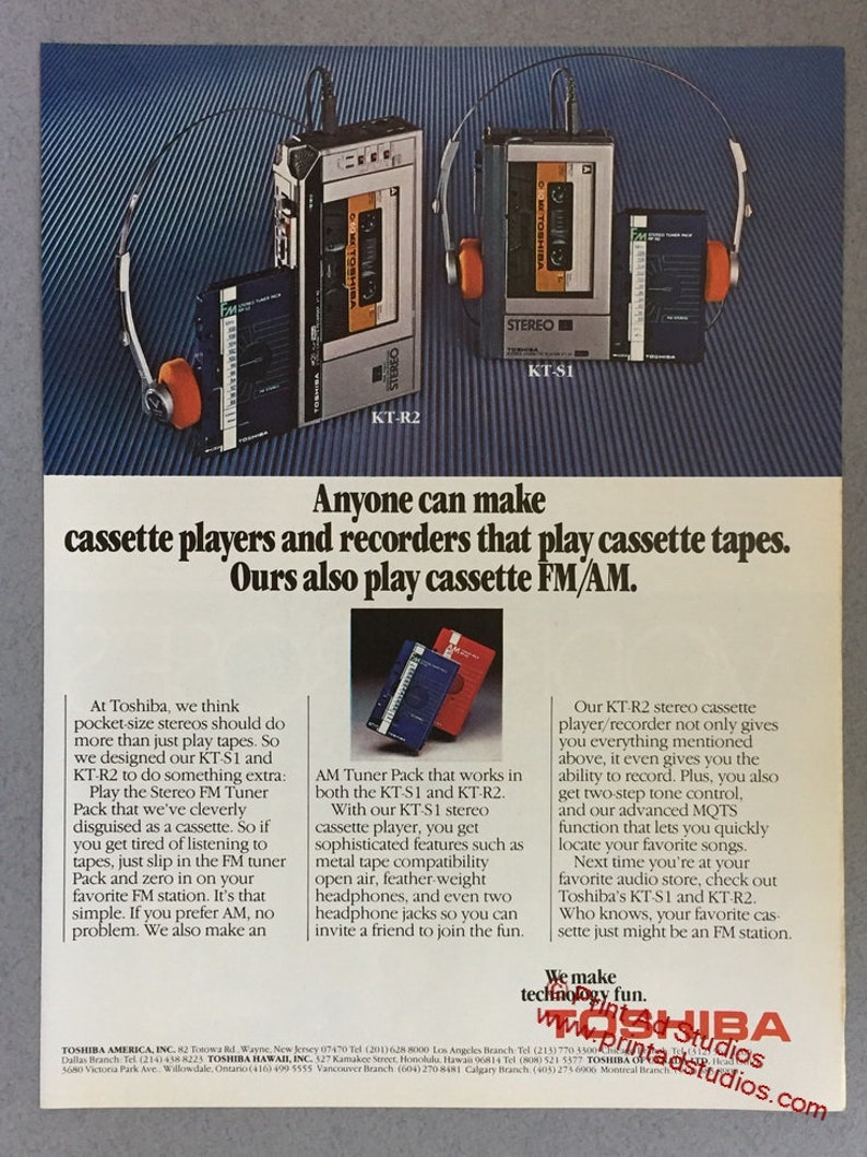 1981 Toshiba Stereo FM Tuner Pack Print Ad - KT-S1 and KT-R2 - Vintage  Electronics Ad