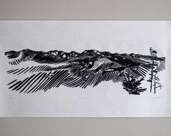 "Adirondack Mountainscape Woodblock Print ""Leave No Trace"""