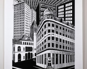 """Woodblock print, """"State and Broadway"""""""