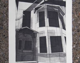 """Architectural Print: """"Proud of Where I'm From"""" (Arbor Hill). Etching on Paper, Unframed"""