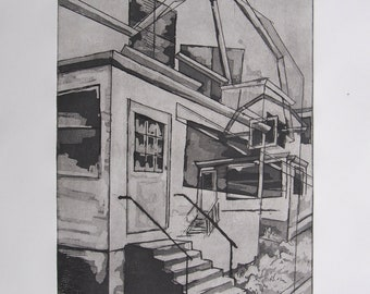 """Architectural Print:  """"A Place To Start A Family"""" (Twiller Street). Etching on Paper, Unframed"""