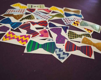 12 Assorted Foiled Patterned Bow Tie Decals   Hair Bow Decals