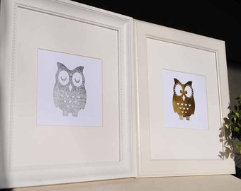 Silver & Gold Foil Owl Art Prints - Set of 2 - Matted to 8x10