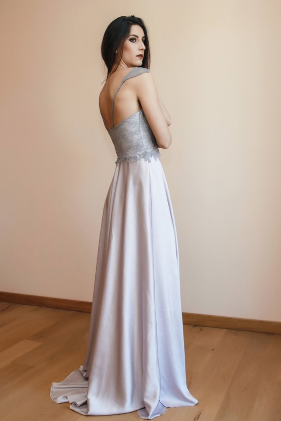 Mauve Wedding Dress Made Of Lace And Satin Simple Wedding Etsy