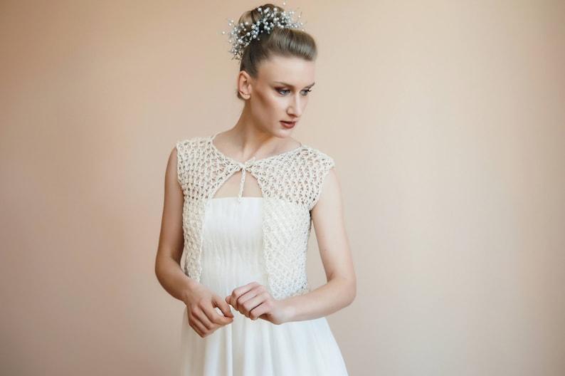 Copri spalle sposa in lana Gilet bianco nuziale Coprispalle  f025d7f334b