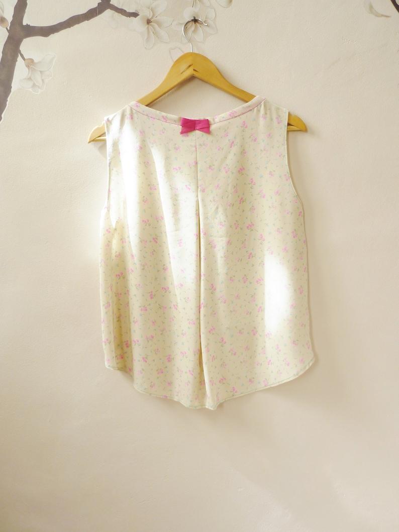 Vintage silk crop top Asymmetrical handmade shirt retr\u00f2 Woman flowery blouse one piece One size