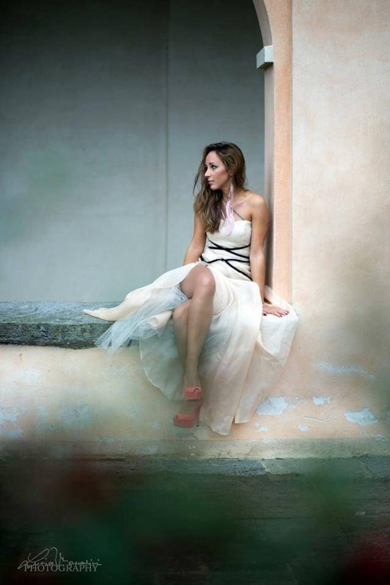 1324ad34b164 Vestito da sposa in organza di seta rosa cipria Sposa