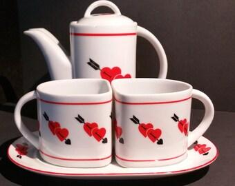 Heart Pattern Ceramic Tea Set by Taste Setter Sigma