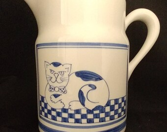 Ceramic Water Pitcher With Cat Motif Made In Italy