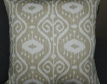 7 Sizes Available - Beige and White Ikot  Pillow Cover