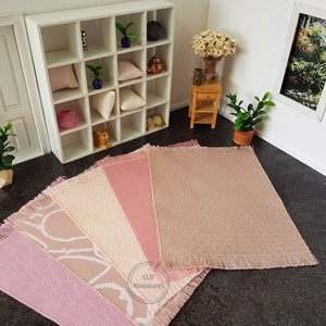 miniature in 1 12 or 1 6 scale Pink carpet for baby girl doll Dollhouse nursery rug