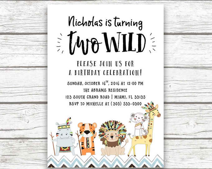 Two Wild Tribal Safari Animal Second 2nd Birthday Invitation, Jungle Invitation, Baby Boy Blue Hipster Birthday, Printed or Printable Invite
