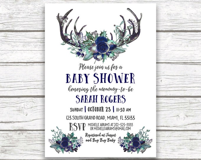 Navy Blue Antler Baby Shower Invitation, Boho Baby Shower Boy, Winter Baby Shower Invitation, Rustic Baby Shower Invite, Navy Antler