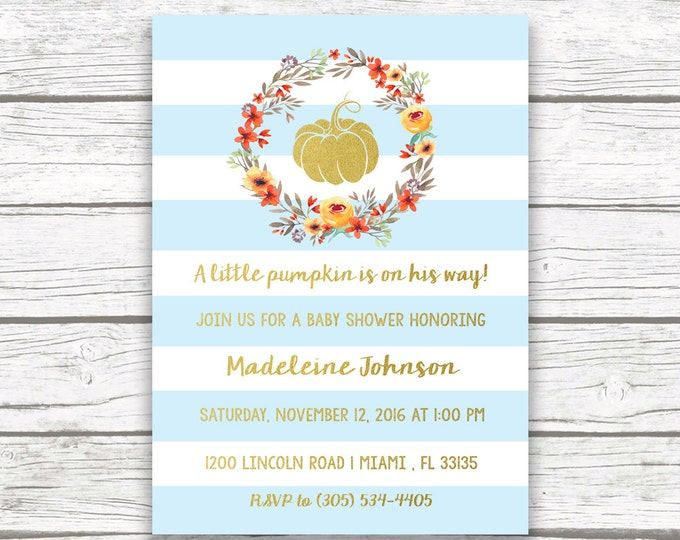 Pumpkin Baby Shower Invitation Boy, A Little Pumpkin is on the Way, Blue Pumpkin Baby Shower Invitation, Fall Baby Shower Invite