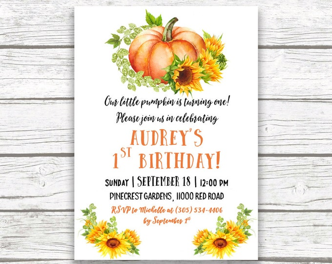 Sunflower Birthday Invitation, Pumpkin Birthday Invitation, Our Little Pumpkin is Turning One Invitation, First 1st Birthday Invite