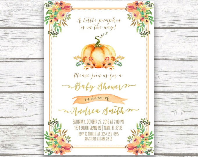 Pumpkin Baby Shower Invitation, Little Pumpkin Baby Shower Invitation, Fall Baby Shower Invitation, Floral Pumpkin on the Way Invitation