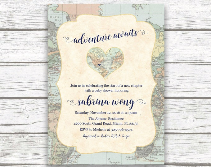 Travel Theme Baby Shower Invitation, Adventure Awaits Baby Shower, Map Baby Shower Invite, Welcome to the World Gender Neutral Baby Shower