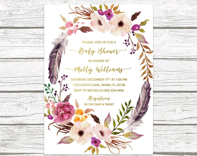 Boho Floral Feather Wreath Baby Shower Invitation, Gold Foil Watercolor Flower Boy Girl Invite, Purple Marsala Southwestern, Printable