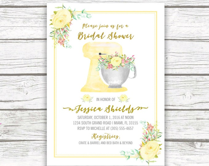 Yellow Kitchen Bridal Shower Invitation, Stand Mixer, Watercolor Floral Wedding Invite, Gold Glitter Foil Boho, Printable Invite