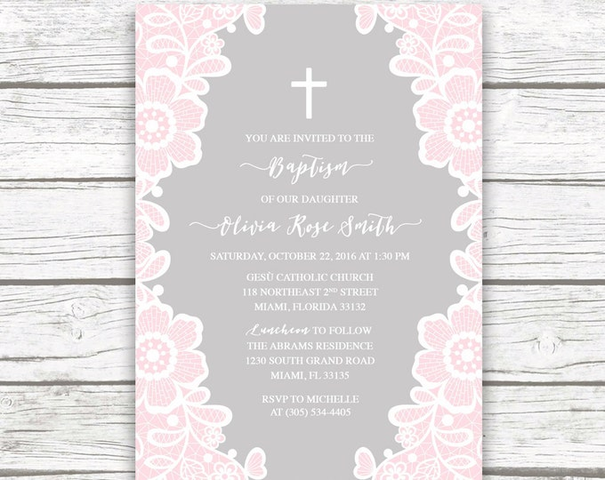 Pink White Lace Floral Baptism Christening Invitation, Gray Girl First Communion Boho Vintage Cross Invite, Printed Printable Invitation