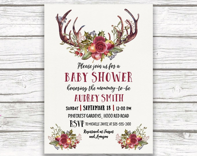 Burgundy Marsala Floral Antler Boho Baby Shower Invitation, Boy Girl Gender Neutral, Autumn Fall Invite, Printed Printable, Matching Back