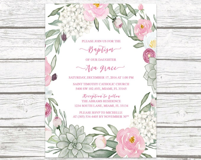 Succulent Floral Wreath Baptism Christening Invitation, Rustic Boho Pink Green, Girl First Communion Cross Invite, Printable Invitation