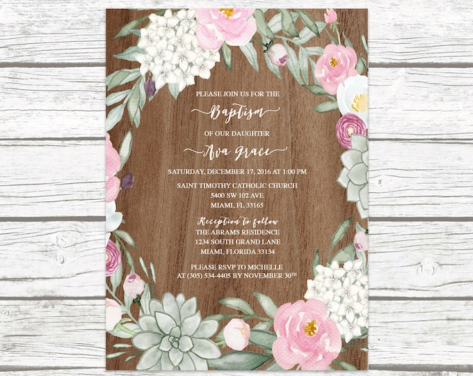 Rustic Baptism Invitation Girl, Succulent Christening Invitation, Girl First Communion Invite, Floral Baptism, Boho Baptism Printable