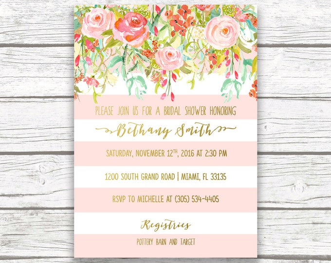 Pink and Gold Foil Floral Bridal Shower Invitation, Pink Stripe Wedding Shower Invite, Pink Coral Flower Striped, Printable Invitation