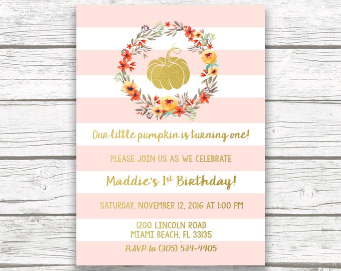 Pink Pumpkin Birthday Invitation, Little Pumpkin First Birthday Invitation Girl, Fall Birthday, Our Little Pumpkin is Turning One Printable