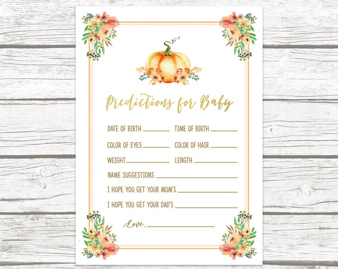 Pumpkin Predictions for Baby Card,Fall Baby Shower Games, Printable Baby Shower Wishes Prediction, Little Pumpkin Predictions for Baby