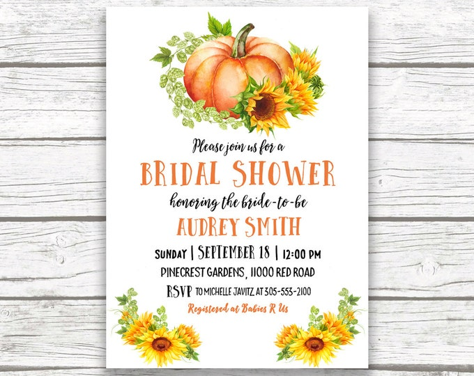 Sunflower Bridal Shower Invitation, Pumpkin Bridal Shower Invitation, Fall Bridal Shower, Rustic Bridal Shower Invitation, Shower Invite