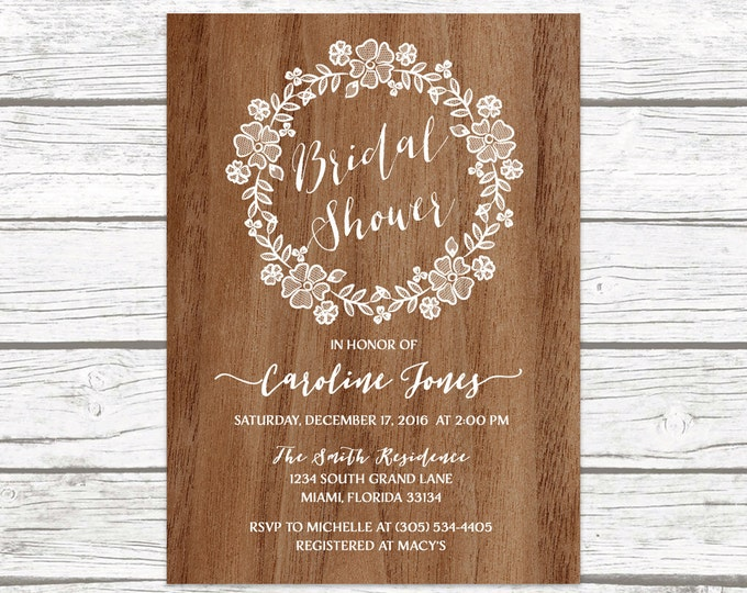 Wood Rustic Lace Wreath Floral Bridal Shower Invitation, Wedding White Lace Neutral Boho Vintage Invite, Printable Printed Invitation