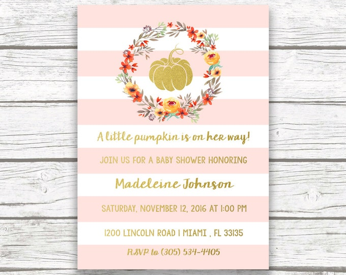 Pink and Gold Pumpkin Baby Shower Invitation, A Little Pumpkin is on the Way, Pumpkin Baby Shower Invitation Girl, Fall Baby Shower Invite