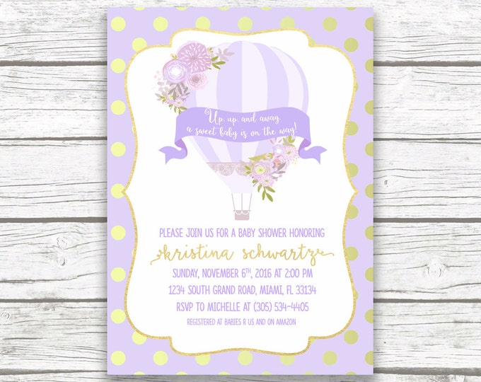 Lavender Hot Air Balloon Baby Shower Invitation, Gold Foil Floral French Parisian Chic, Purple Boy Girl Invite, Printed Printable Invitation