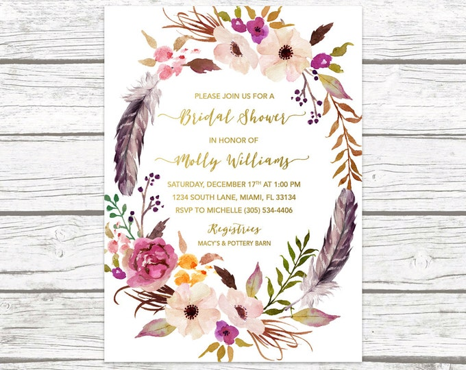 Boho Bridal Shower Invitation, Feather Bridal Shower Invitation, Tribal Bridal Shower Invite, Purple Floral Wreath, Watercolor Printable