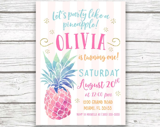Pineapple Birthday Invitation, Party Like a Pineapple Invitation, First 1st Birthday Girl, Pineapple Birthday Party Invite, Printable Invite