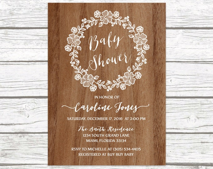 Wood Rustic Lace Wreath Floral Baby Shower Invitation, White Lace Boy Girl Gender Neutral Boho Vintage Invite, Printable Printed Invitation
