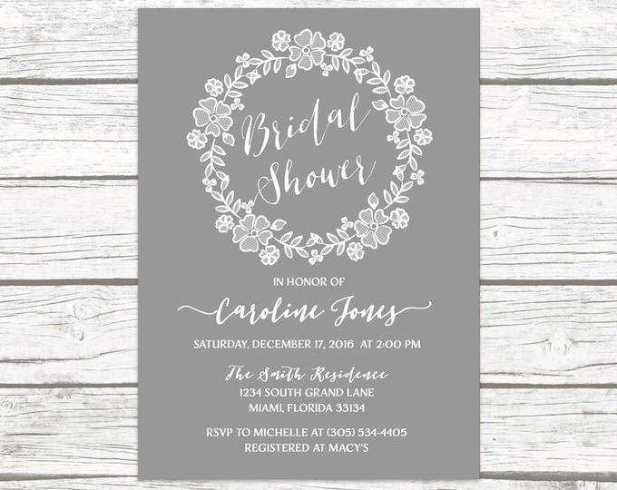Gray Rustic Lace Wreath Floral Bridal Shower Invitation, Vintage Wedding White Lace Boho Vintage Invite, Printable Printed Invitation