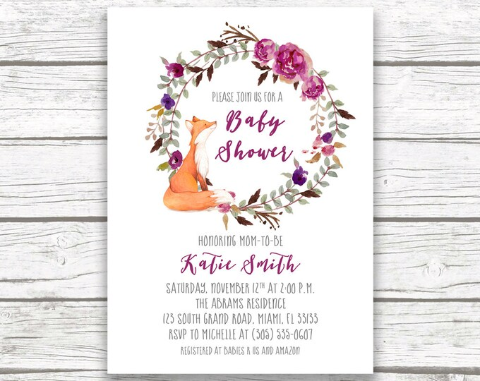 Woodland Baby Shower Invitation, Fox Baby Shower Invitation, Forest Baby Shower Invitation, Purple Baby Shower Invitation, Printable Invite