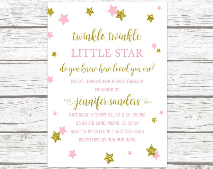 Twinkle Twinkle Little Star Baby Shower Invitation, Twinkle Twinkle Baby Shower, Pink and Gold Baby Shower Invitation, Girl Invite