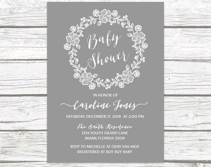 Gray Rustic Lace Wreath Floral Baby Shower Invitation, White Lace Boy Girl Gender Neutral Boho Vintage Invite, Printable Printed Invitation