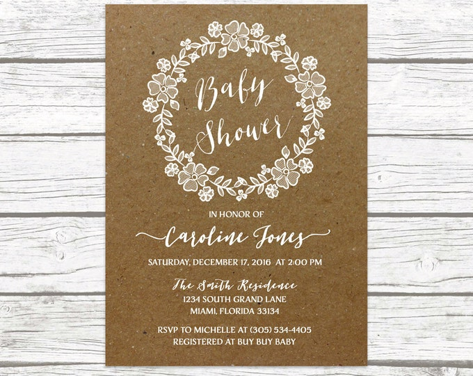 Kraft Rustic Lace Wreath Floral Baby Shower Invitation, White Lace Boy Girl Gender Neutral Boho Vintage Invite, Printable Printed Invitation