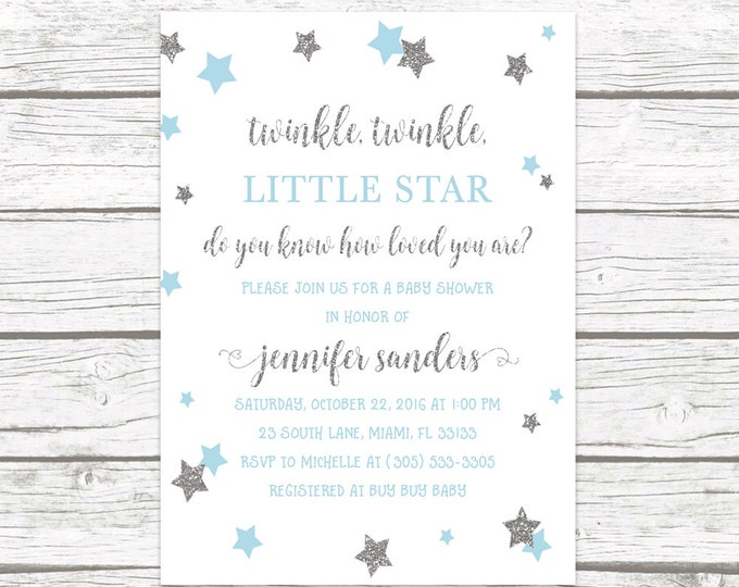 Twinkle Twinkle Little Star Baby Shower Invitation, Boy Baby Shower Invitation, Twinkle Twinkle Invitation, Blue and Silver Boy Invite
