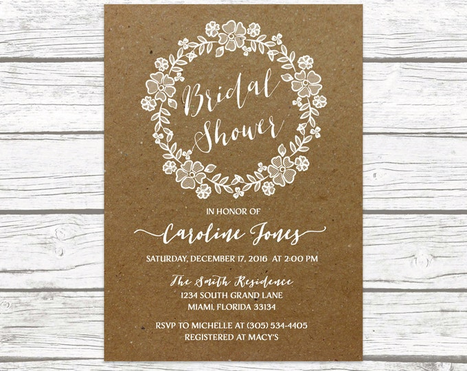 Rustic Lace Wreath Floral Bridal Shower Invitation, Kraft Brown Wedding White Lace Neutral Boho Vintage Invite, Printable Printed Invitation