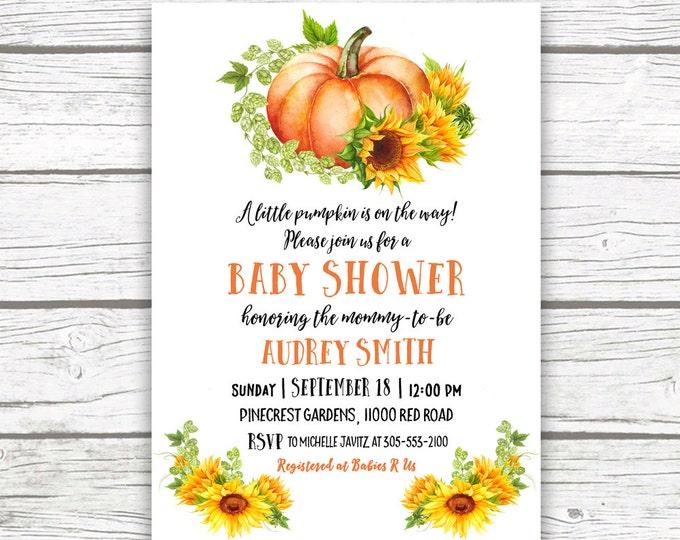 Pumpkin Baby Shower Invitation, Fall Baby Shower Invitation, Sunflower Baby Shower Invitation, Rustic Baby Shower Printable Invitation