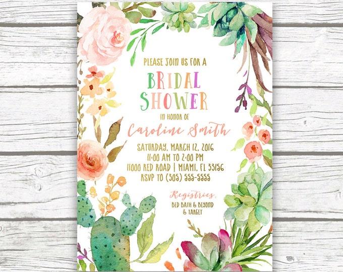 Fiesta Bridal Shower Invitation, Tropical Bridal Shower Invitation, Cactus Bridal Shower Invitation, Floral Wreath Invite, Printable