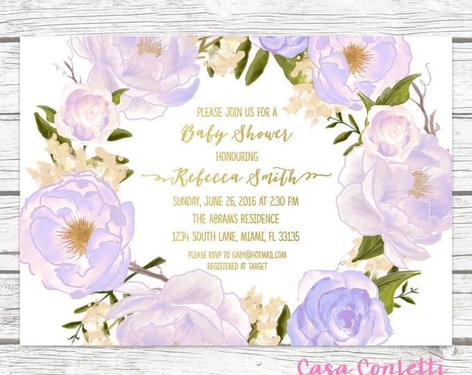 Lavender Baby Shower Invitation, Rose Floral Baby Shower Invitation, Boho Baby Shower Girl, Purple Baby Shower Invite, Printable