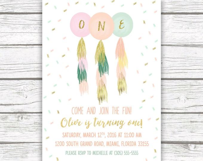 First 1st Birthday Invitation Girl, Balloon Birthday Invitation, Confetti Birthday Invitation, Pink and Gold Tassel Birthday Invite
